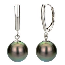 DaVonna Sterling Silver Black 9-10mm Tahitian Pearl Earrings with Gift Box