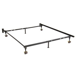 Adjustable Twin/ Full Steel Bed Frame with 4 Casters