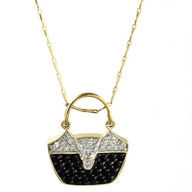Beverly Hills Charm 14k Yellow Gold Sapphire and 1/4ct TDW Diamond Handbag Necklace