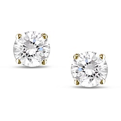Miadora 10K Yellow Gold 3/4ct TGW White Sapphire Solitaire Earrings