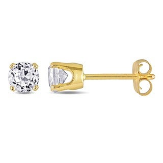 M by Miadora 10K Yellow Gold 3/4ct TGW White Sapphire Solitaire Earrings