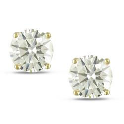 14k Yellow Gold 3 1/2ct TDW Certified Brilliant-cut Diamond Solitaire Earrings (GIA)