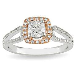 14k Gold 3/4ct TDW Rose Accent Diamond Halo Ring (G-H-I, I1-I2)