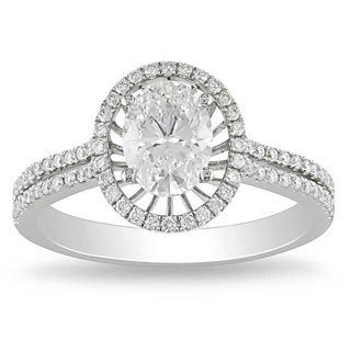 14k White Gold 1 1/3ct TDW Certified Diamond Ring (E, VS1)