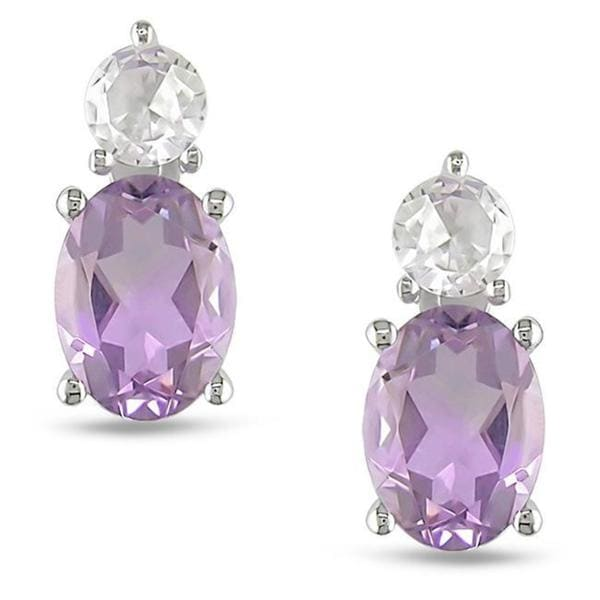M by Miadora Sterling Silver Amethyst and Created White Sapphire Earrings