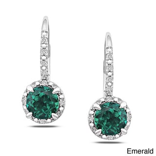Miadora Sterling Silver Gemstone and Diamond Earrings