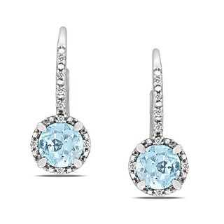 Miadora Sterling Silver Blue Topaz and Diamond Accent Earrings