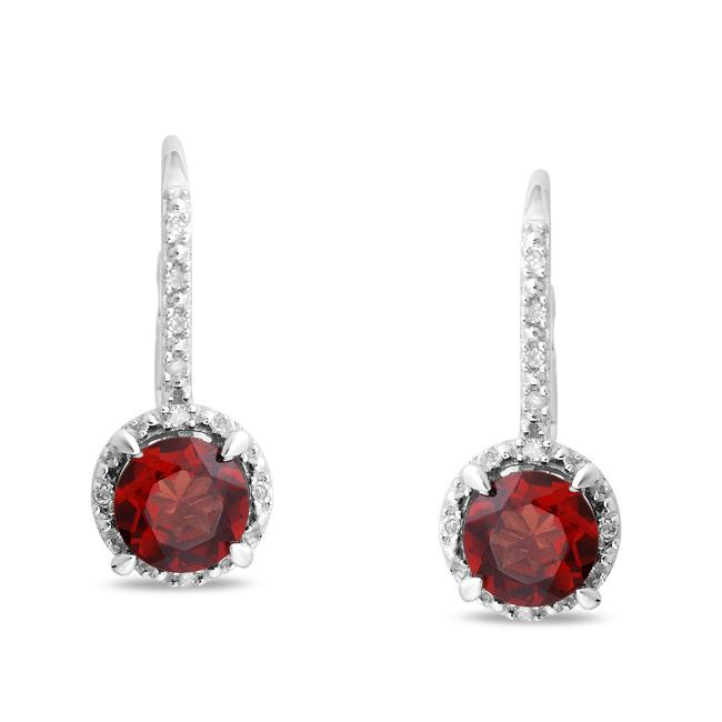 Miadora Sterling Silver Garnet and Diamond Earrings