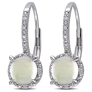 Miadora Sterling Silver Opal and Diamond Accent Earrings