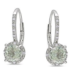 Miadora Sterling Silver Green Amethyst and Diamond Accent Earrings