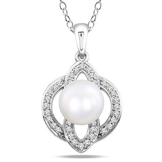 M by Miadora Sterling Silver Pearl and Cubic Zirconia Necklace (8.5-9 mm)