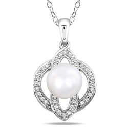 Sterling Silver Pearl and Cubic Zirconia Necklace (8.5-9 mm)