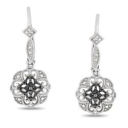 M by Miadora Sterling Silver Black Diamond Accent Leverback Earrings