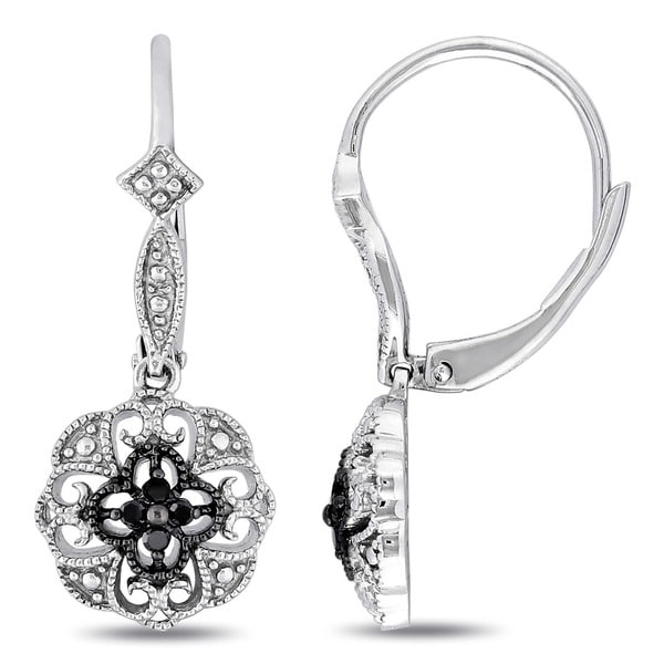Miadora Sterling Silver Black Diamond Accent Leverback Earrings