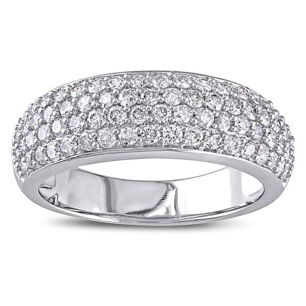 Miadora 1 CT Diamond TW Fashion Anniversary Ring 10k White Gold GH I2;I3