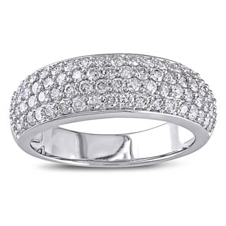Miadora 1 CT Diamond TW Fashion Anniversary Ring 10k White Gold GH I2;I3