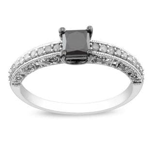 Miadora 10k White Gold 1ct TDW Princess-cut Black and White Diamond Ring (G-H, I3) with Bonus Earrings