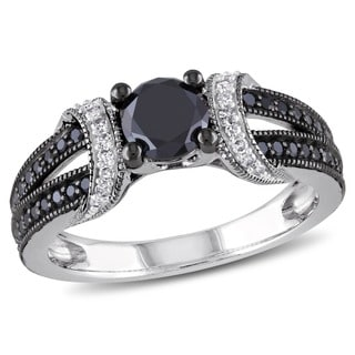 Miadora Sterling Silver 1ct TDW Black and White Diamond Ring (H-I, I3)