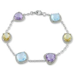 Miadora Sterling Silver Checkerboard Multi-gemstone Bracelet