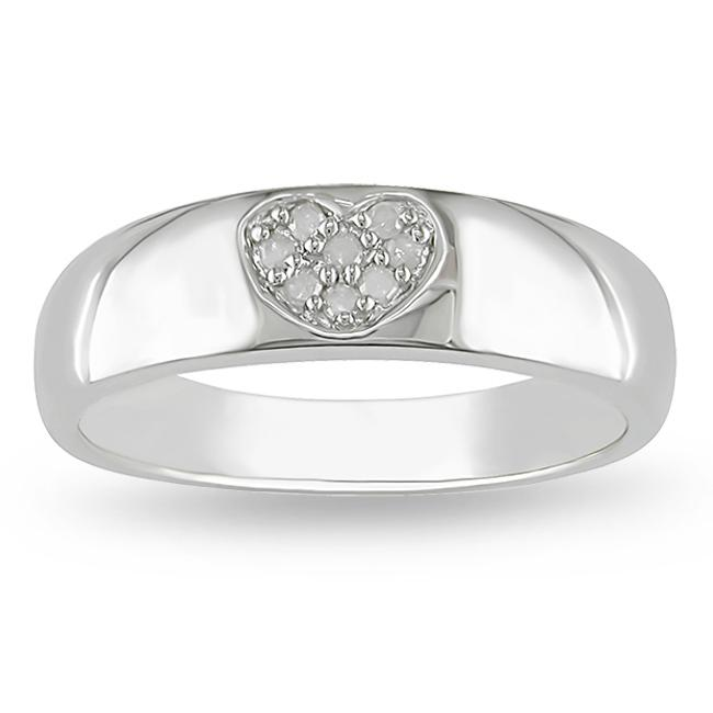 M by Miadora Sterling Silver Diamond Accent Heart Ring