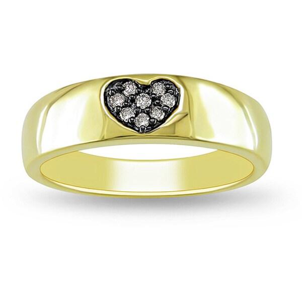 Miadora Yellow Silver Brown Diamond Accent Heart Ring