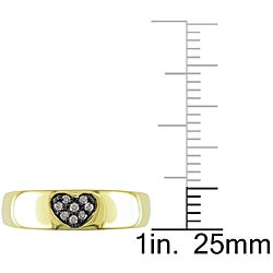 M by Miadora Yellow Silver Brown Diamond Accent Heart Ring