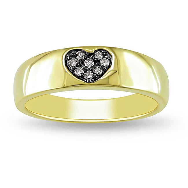 Yellow Silver Brown Diamond Accent Heart Ring