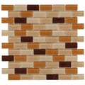 SomerTile 12x12-in View Subway 1x2-in Cafe Glass Mosaic Tile (Case of 20)