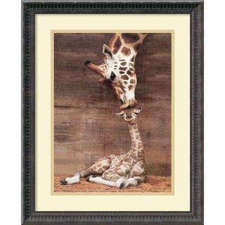Ron D'Raine 'Makulu - Giraffe First Kiss' Small Framed Art Print