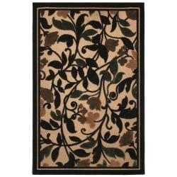 Beige Indoor/Outdoor Floral Olefin Rug (5' x 8')