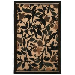 Beige Indoor/Outdoor Floral Olefin Rug (5' x 8')