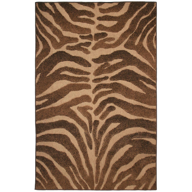 Beige Brown Indoor Outdoor Animal Rug 8 x 10