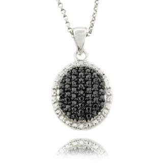 Finesque Sterling Silver Black Diamond Accent Oval Necklace