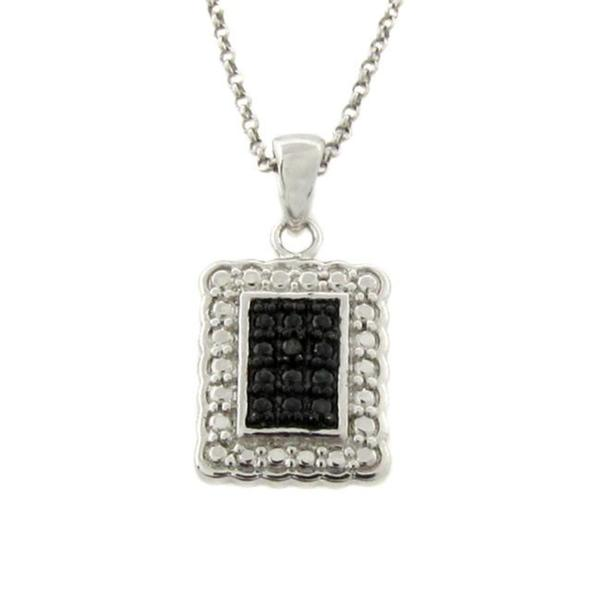 Finesque Sterling Silver Black Diamond Accent Rectangle Necklace