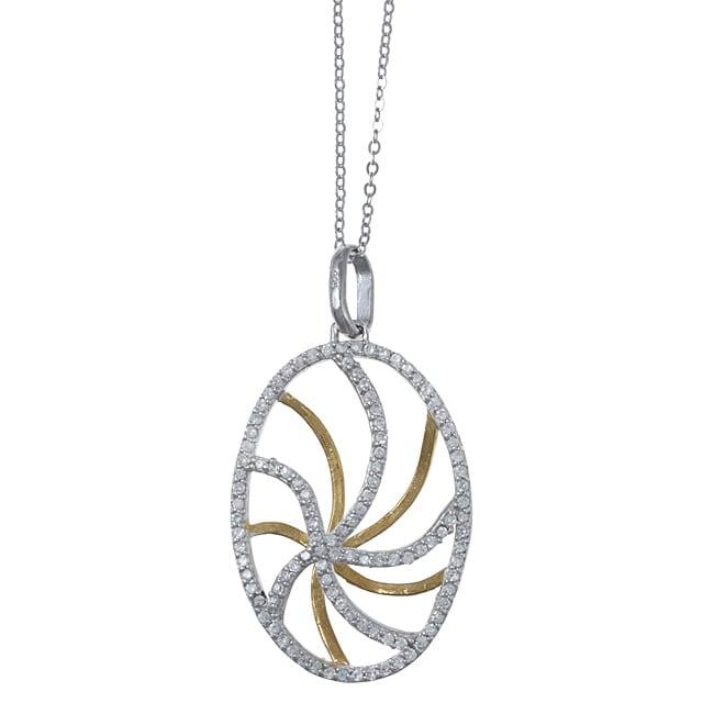 La Preciosa Sterling Silver Two-tone Cubic Zirconia Reversible Oval Necklace