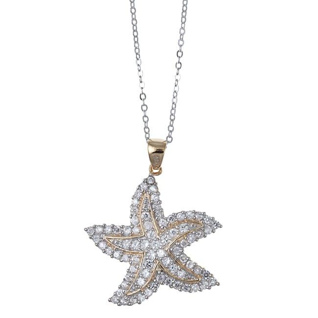 La Preciosa Sterling Silver Two-tone Cubic Zirconia Starfish Necklace