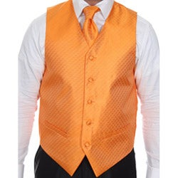 Ferrecci Men's Four-piece Orange Vest Set