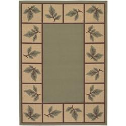 Picnic Green Botanical Border Indoor/Outdoor Rug (7'6 x 10'9)