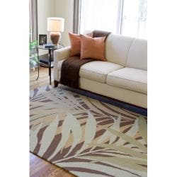 Hand-hooked Bliss Sage Indoor/Outdoor Floral Rug (9' x 12')