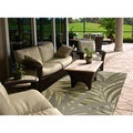 Hand-hooked Bliss Dark Sage Indoor/Outdoor Floral Rug (5' x 8')