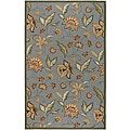 Hand-hooked Bliss Green Indoor/Outdoor Floral Rug (2' x 3')