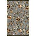Hand-hooked Bliss Pale Blue Indoor/Outdoor Floral Rug (2' x 3')