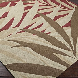 Hand-hooked Bliss Brown Indoor/Outdoor Floral Rug (9' x 12')