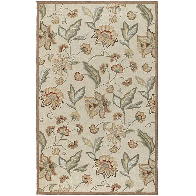Hand-hooked Bliss Beige/Green Indoor/Outdoor Floral Rug (2' x 3')