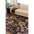 Hand-hooked Bliss Chocolate Indoor/Outdoor Floral Rug (5' x 8')