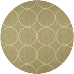 Hand-hooked Bliss Outdoor Sage Indoor/Outdoor Moroccan Trellis Rug (8' Round)