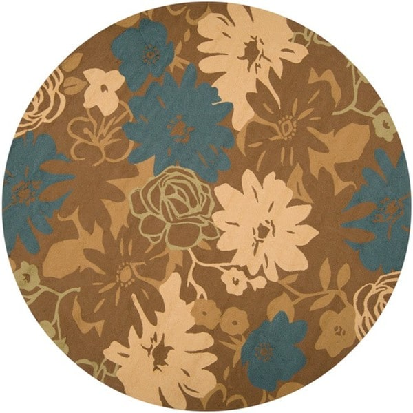 Hand-hooked Bliss Chocolate Indoor/Outdoor Floral Rug (8' Round)