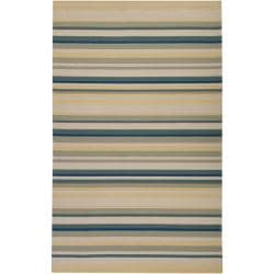 Hand-hooked Bliss Pale Yellow Striped Rug (5' x 8')