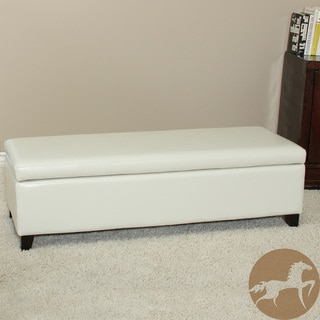 Christopher Knight Home York Bonded Leather Ivory Storage Ottoman Bench