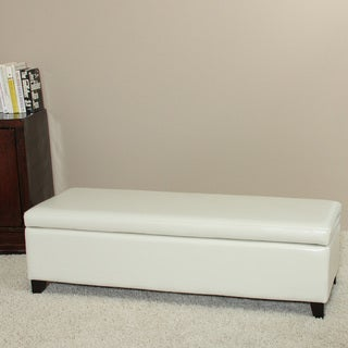 York Bonded Leather Ivory Storage Ottoman Bench